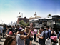 Crowds swarm a taco truck at the LA Taco Fest.