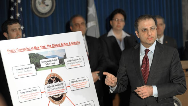 U.S. Attorney for the Southern District of New York Preet Bharara announces federal corruption charges against state Sen. Malcolm Smith and others on April 2, 2013. On Thursday, Smith was found guilty of four charges.
