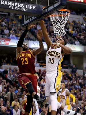 Indiana Pacers forward Myles Turner (33) blocks the dunk attempt by Cleveland Cavaliers forward LeBron James (23) in the second half of their game Monday, Feb 1, 2016, evening at Bankers Life Fieldhouse. The Indiana Pacers lost to the Cleveland Cavaliers 106-111.