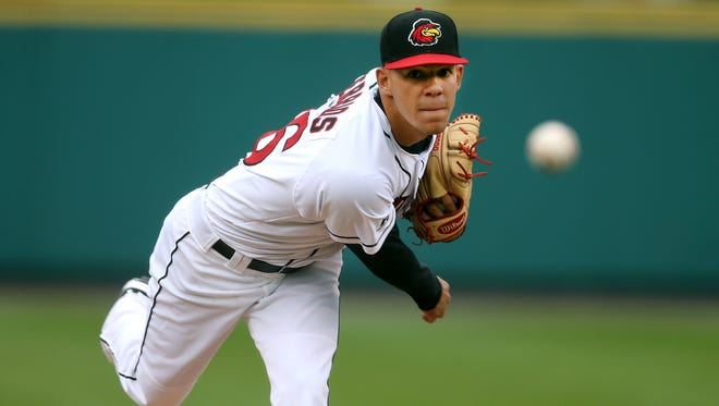 Red Wings starter Jose Berrios pitching in a game earlier this season.
