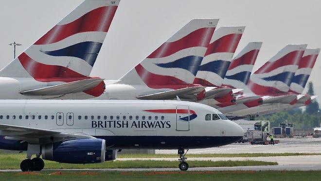 British Airways aircraft at London's Heathrow Airport on May 21, 2010.