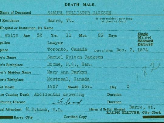 Lt. Gov. S. Hollister Jackson's death record from Nov. 3, 1927.