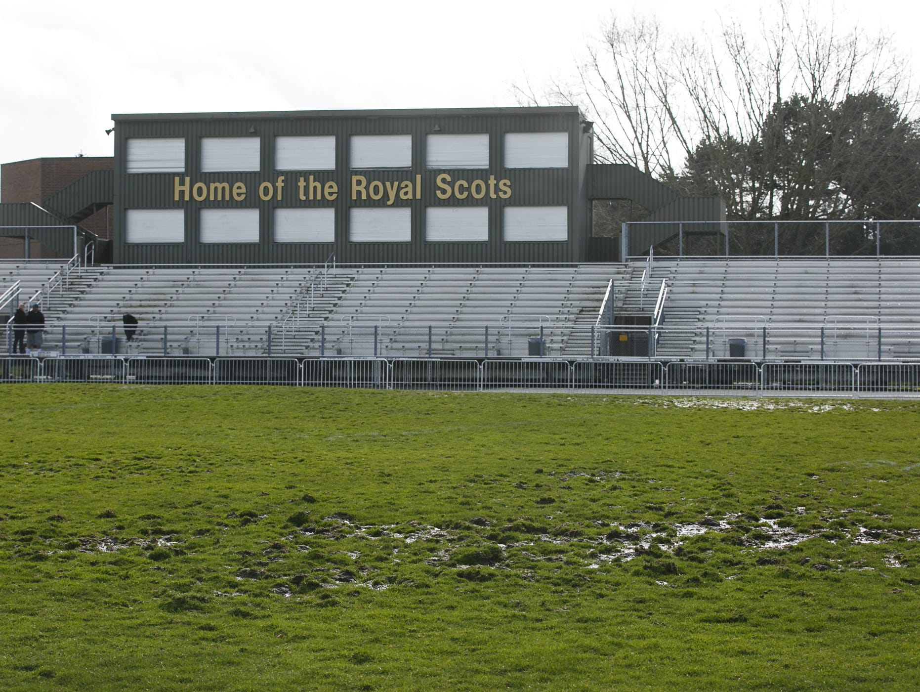 McKay High School is the last high school in the Salem-Keizer district still playing on a grass football field, pictured here on Friday, March 24, 2017. After a long fundraising effort, they are expecting to have a turf field by the start of the 2017 fall season.