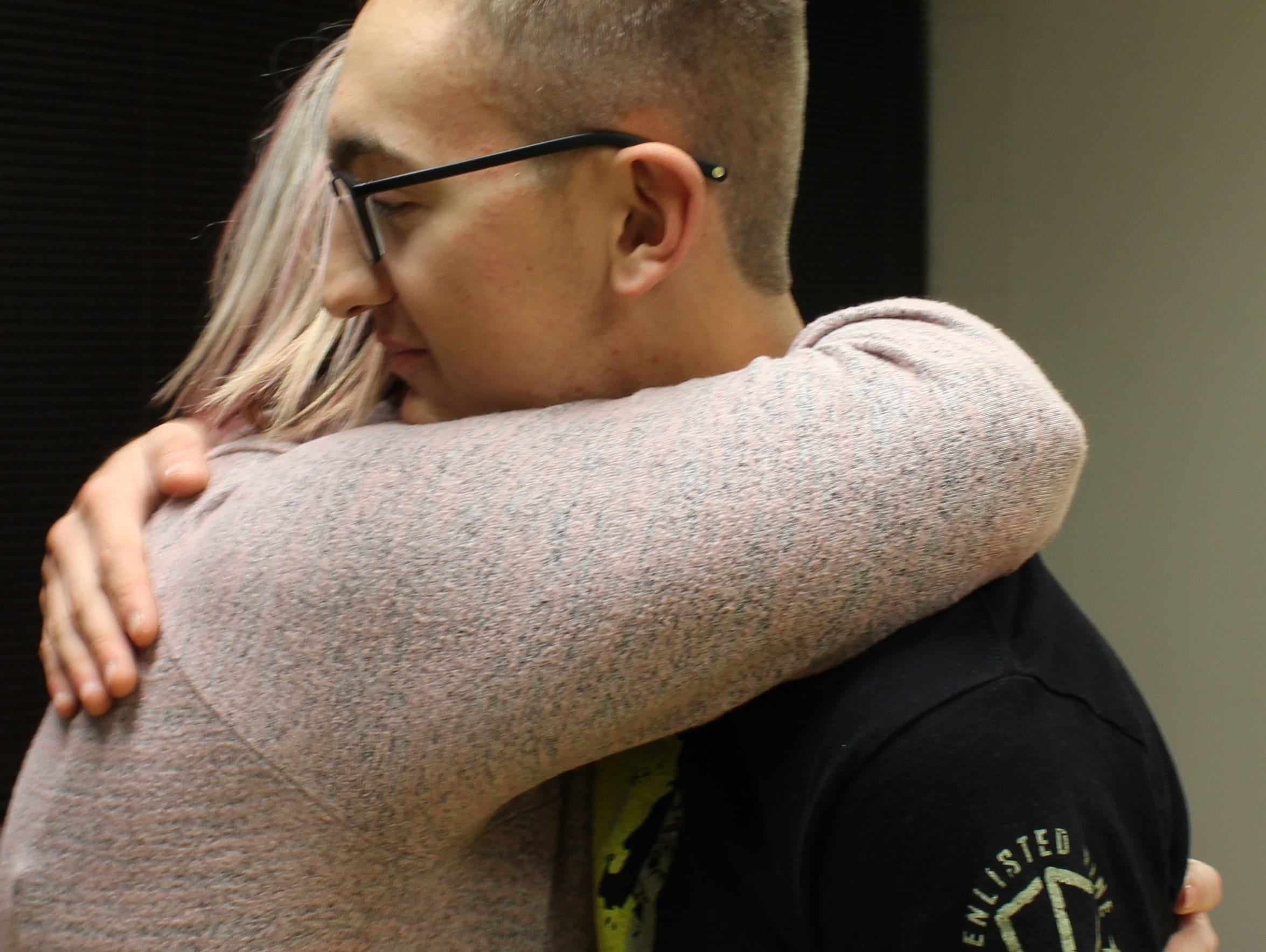 "Tuesday's sendoff party for Parker Harrison was more for his friends to say goodbye and good luck, but Crystal Harrison sneaked in a few mom hugs. ""I am so proud of him,"" she said of Harrison, who deploys to the Sinai Peninsula this weekend."