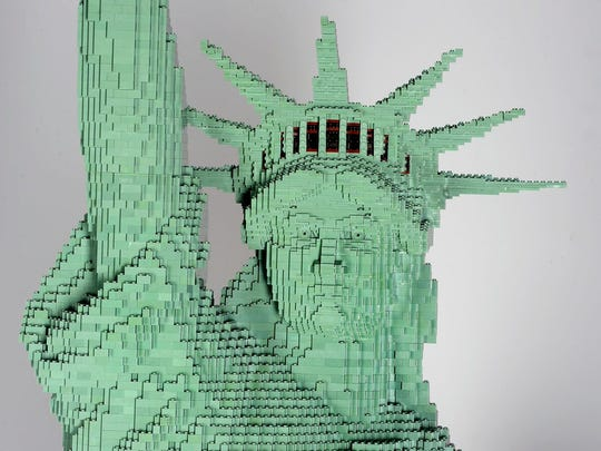 A replica of the Statue of Liberty built out of Legos.