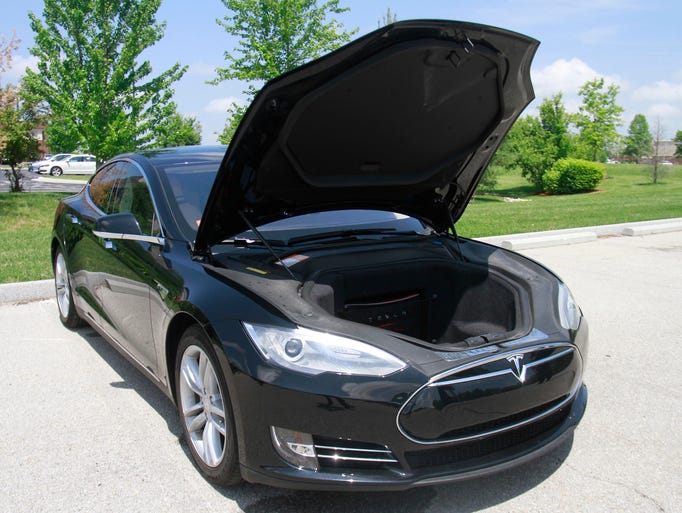 A Telsa Model S on Friday, May 9, 2014. Tesla sells is Model S directly to customers which House Bill 1124 would prohibit.
