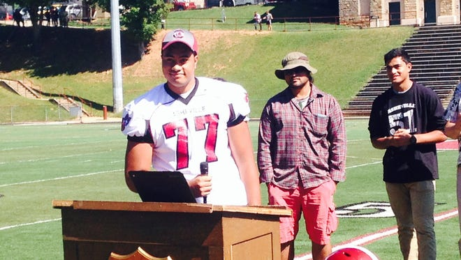 Asheville High senior Pete Leota committed to play college football for South Carolina on Thursday morning.