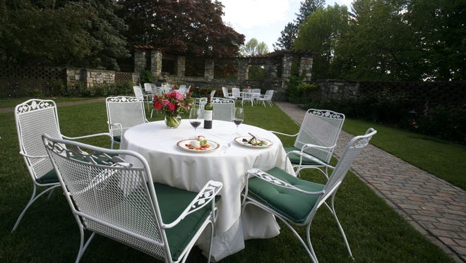 The garden area is seen in spring at Le Chateau in South Salem.