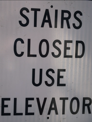 Shoppers and commuters are greeted with this sign on the Route 4 footbridge that links the Outlets at Bergen Town Center to the Paramus Place mall. The state Department of Transportation has not yet established a schedule for fixing the rusted, crumbling stairway.