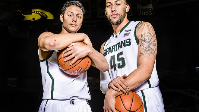 Bryn Forbes (left) and Denzel Valentine (right) of MSU during MSU Men's Basketball Media Day at the Breslin Center in October.