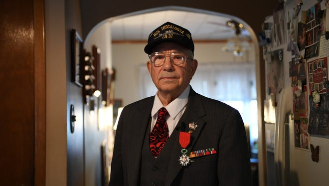 Navy veteran Joseph Galofaro, 90 of Clifton, at his home on Tuesday, Nov. 22, 2016.Galofaro was awarded the French Legion of Honor Medal, the nation's highest award, for his service during WWII.