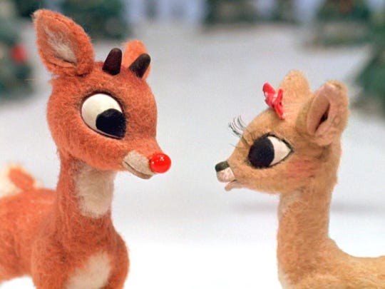 "Rudolph and Clarice get acquainted in the 1964 television special ""Rudolph the Red-Nosed Reindeer."" Credit: CBS"