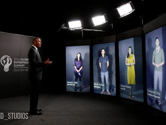 President Barack Obama participates in a Shared Studios