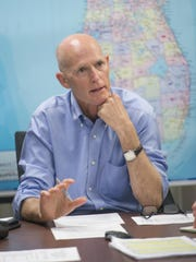 Gov. Scott Gregg Pachkowski/gregg@pnj.comGovernor Rick Scott holds a roundtable for Leon and Wakulla County Officials at the Emergency Operations Center after Hurricane Hermine in Tallahassee,Saturday. Governor Rick Scott holds a roundtable for Leon and Wakulla County Officials at the Emergency Operations Center after Hurricane Hermine in Tallahassee, FL on Saturday, September 3, 2016.