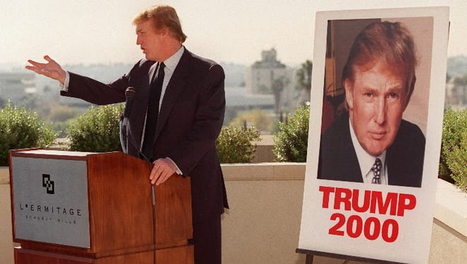 Then-campaigning Donald Trump in Beverly Hills, California in December 1999.
