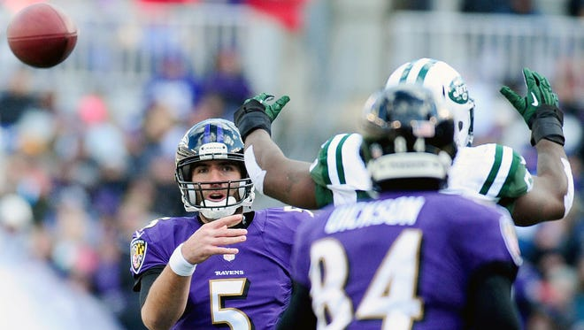 Joe Flacco had a solid day throwing the ball in breezy Baltimore.