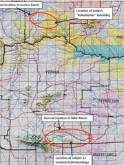The circles show the NBar Ranch in Fergus County and