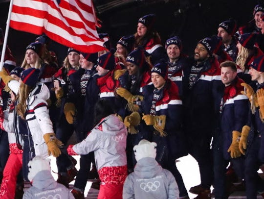 Team USA at the opening ceremony on Feb. 9, 2018.