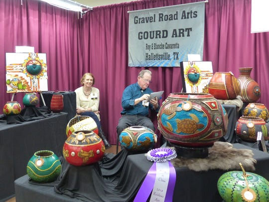 Gravel Road Arts was one of the winning booths at the festival, and featured  gourd art.