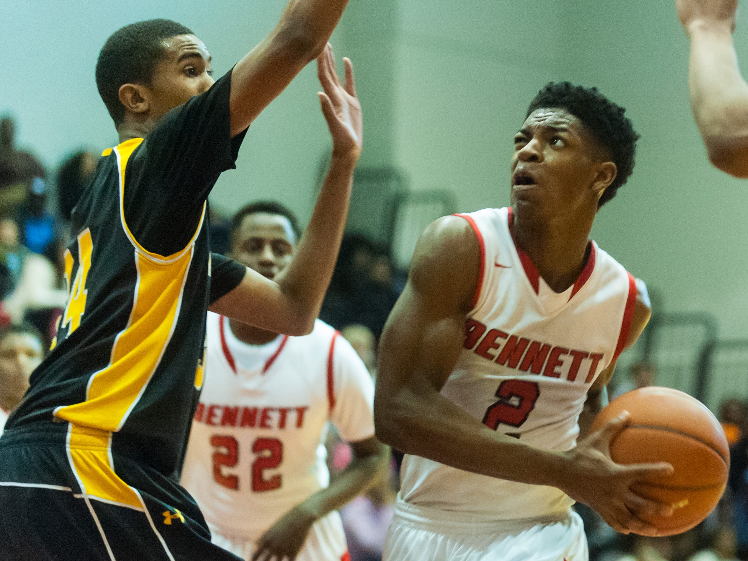 James M Bennett forward Barry Gaines takes a shot against Wicomico at James M Bennett.