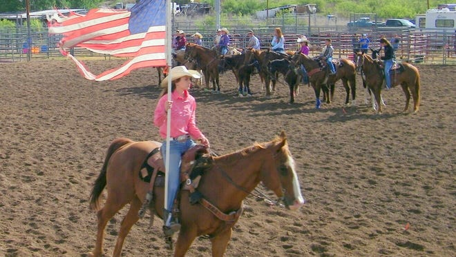 Grant County 4-H held a rodeo in Cliff. Above, the American flag is displayed before the rodeo began.