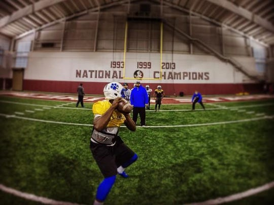 Godby quarterback Darius Bradwell works out in FSU's