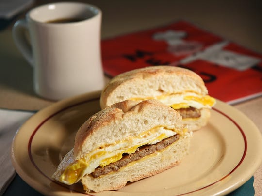 The sausage, egg and cheese breakfast sandwich at Dee's Luncheonette in Hawthorne  on Tuesday July 17, 2018.