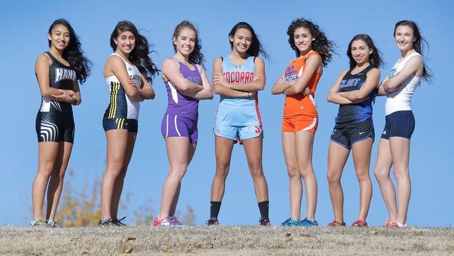 The El Paso Times' all city girls' cross country team are, from left, Andrea Abeyta, Hanks, Lili Fernandez, Eastwood, Brianna Armendariz, Franklin, Natalie Gomez, Socorro, Anisa Burciaga, Canutillo, Ocean Stevens, Clint and Rachel Gallivan, Chapin.