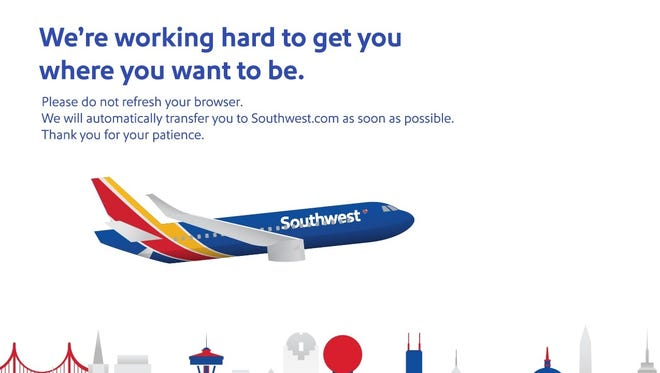 "Visitors to Southwest Airlines' website were receiving this ""stand by"" message late Wednesday afternoon."