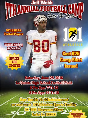 Promotional flier for Webb's football camp