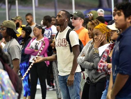 Students attend the United We Stand Rally on Thursday,