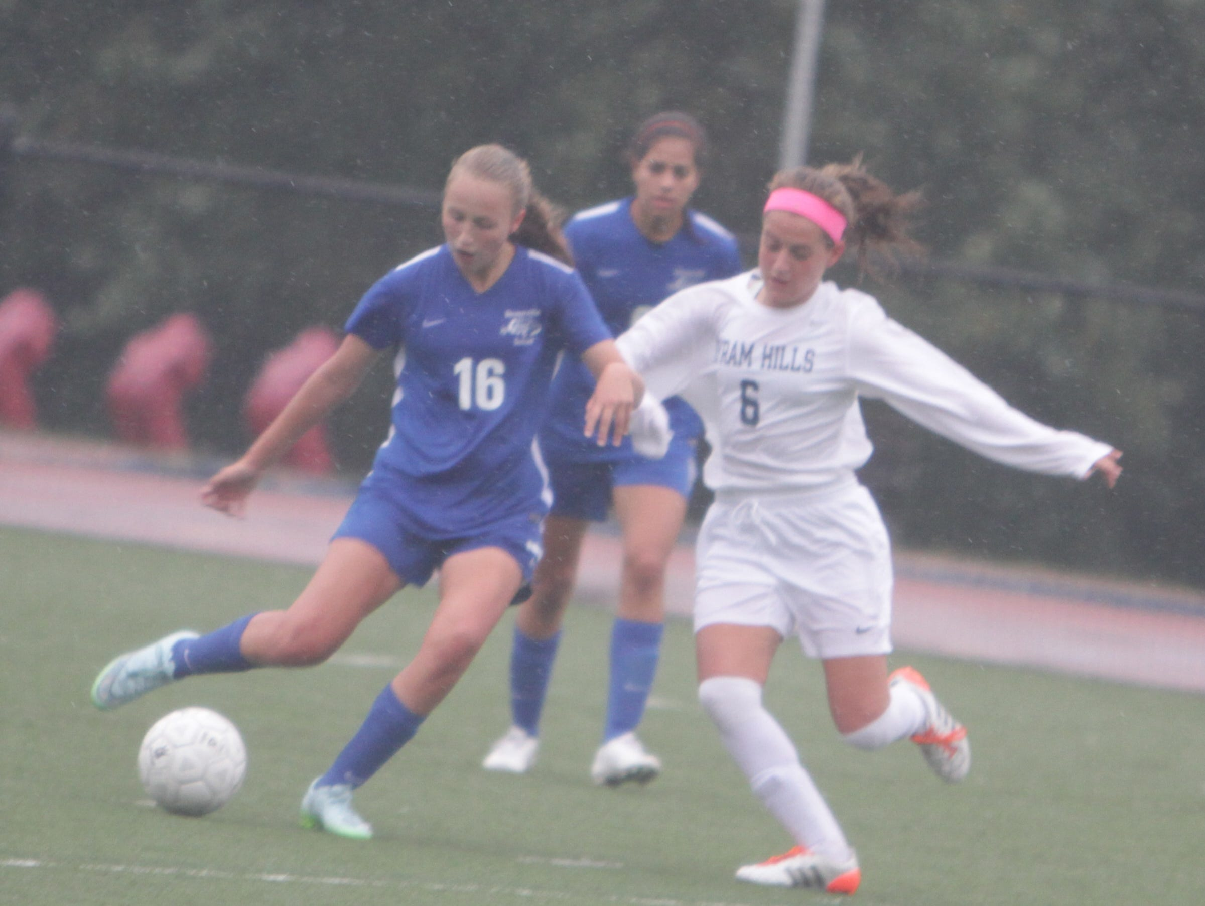 Bronxville's Rachel Peacock (16), pictured here in a game against Byram Hills on October 2nd, 2015, had two goals and an assist in the team's 3-2 win against Ardsley on Thursday, October 16th, 2015.