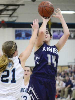 Xavier's Erin Powers shoots over Jamie Hoban of Roncalli during Saturday's game in Manitowoc.