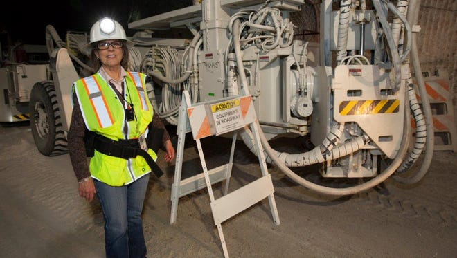Susan Scott, pictured at WIPP's underground site in an undated photo, has worked for WIPP for the last 25 years. Scott was one of the public affairs officers working before the opening of the facility in 1999 to educate the public about the new facility.