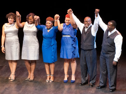 """L-R: Made New's Bettye Wise, Rhonda Ray, Makayla Wise, Erica Goodman, Kenneth Ray and Troy Marable, celebrate their victory in the A Cappella sing off, """"Perfect Pitch"""" at Sen. Gerald and Kathy Neal's """"Annual Derby Soiree"""" at the Kentucky Center for the Arts. The party benefits the Kentucky Minority Scholarship Fund. 02 May 2014"""