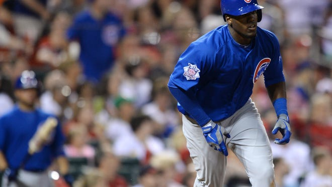 Chicago Cubs' Jorge Soler heads to first on his two-run home run against the St. Louis Cardinals in the eighth inning of a baseball game, Friday, Aug. 29, 2014, at Busch Stadium in St. Louis.