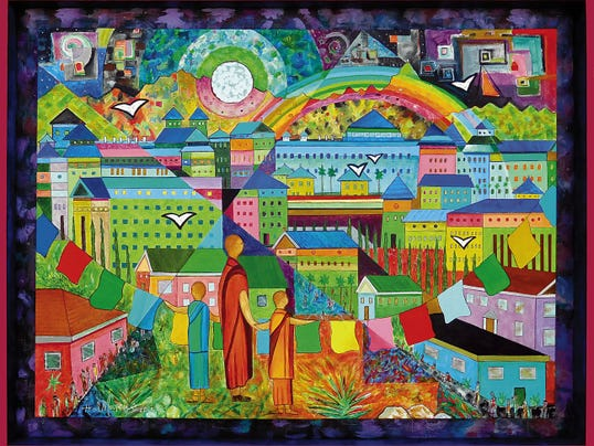 """""""Under the Rainbow"""" by Hal Marcus, part of """"Hal Marcus / Lyric Modern"""" exhibition opening today at the El Paso Museum of Art."""