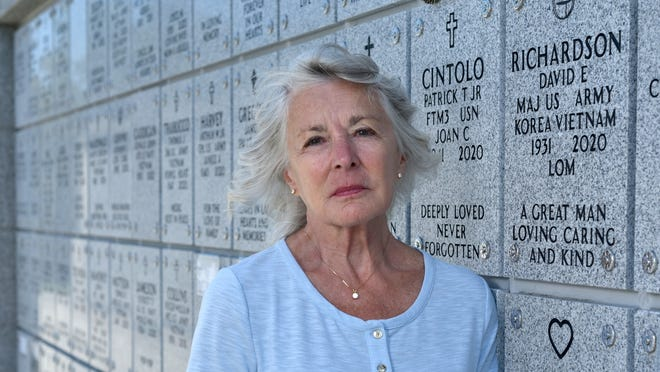 Diane Richardson, whose husband, David, is interred at Massachusetts National Cemetery in Bourne, is concerned about how noise from a proposed multipurpose machine-gun range at Camp Edwards will disturb visitors to the cemetery.