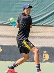 Ventura High freshman Hunter Leija eyes the ball during