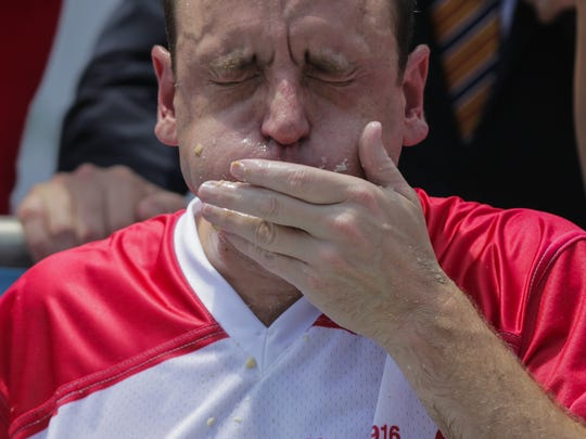 Joey Chestnut competes in the annual Nathan's Hot Dog