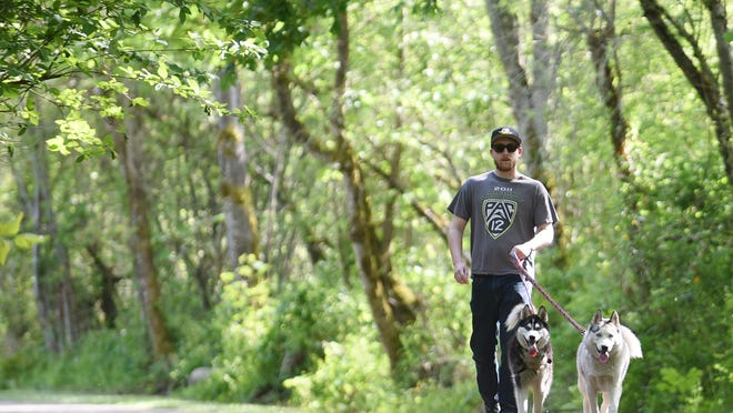 Brytton Streeter, of Salem, walks his Siberian Huskies, Prudence and Otto, along the paved trails Minto-Brown Island Park on Friday in Salem.