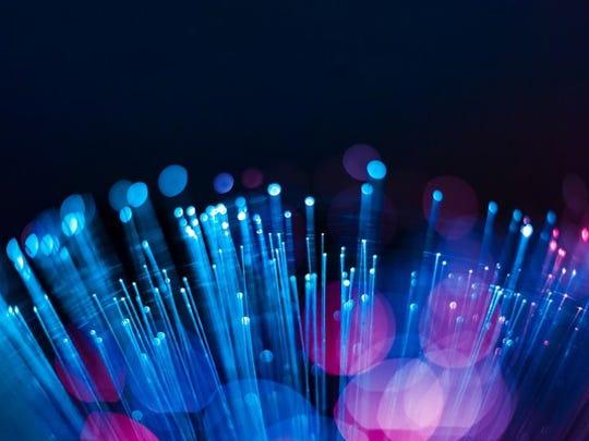 A closeup of a fiber optic cable.