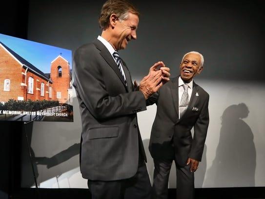 Gov. Bill Haslam (left) jokes with 86-year-old Elmore