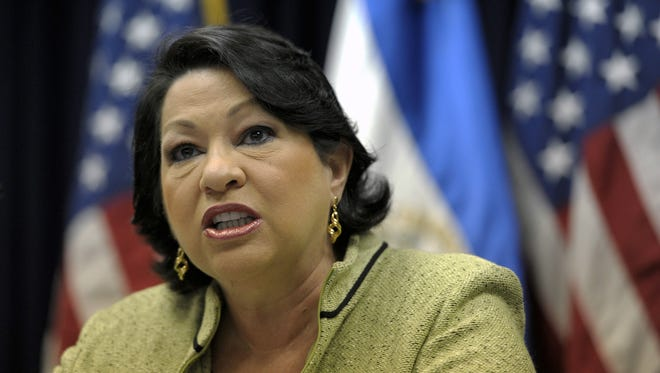 U.S. Associate Justice of the Supreme Court Sonia Sotomayor speaks in San Salvador on Aug. 16, 2011.