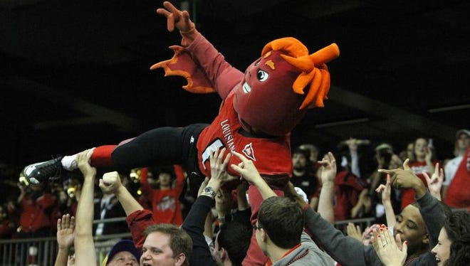 Ragin' Cajuns sports spirit leader Cayenne, shown here surfing the crowd during UL's 2011 New Orleans Bowl win, has been mysteriously absent in recent seasons.