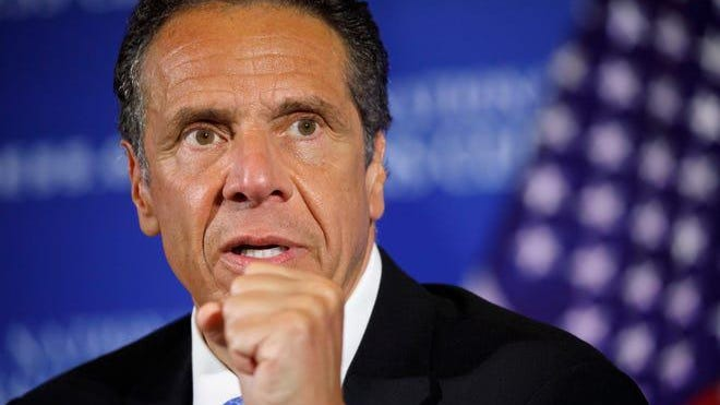 FILE - In this May 27, 2020, file photo, New York Gov. Andrew Cuomo speaks during a news conference at the National Press Club in Washington.
