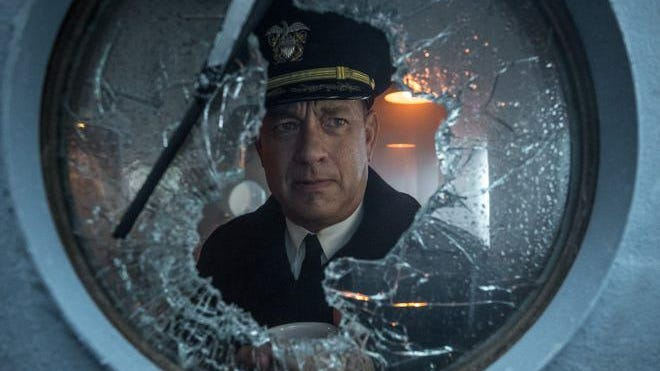 "Tom Hanks captains a Navy destroyer pursuing U-boats in the World War II thriller ""Greyhound."