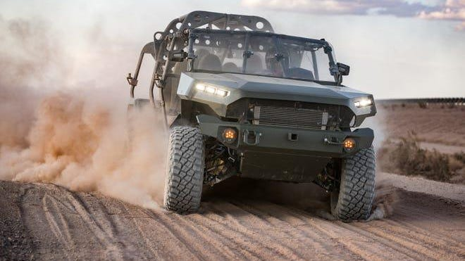 GM Defense's Infantry Squad Vehicle, a finalist for the U.S. Army in what would be a $155 million contract if GM Defense wins it. The vehicle was shot at GM Defense's Proving Grounds in Yuma, Ariz.