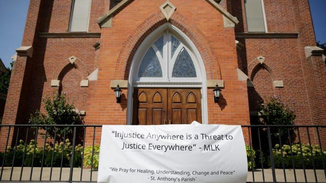 The front entrance to St. Anthony's Roman Catholic Church in the Madisonville neighborhood of Cincinnati on Sept. 9, 2020.