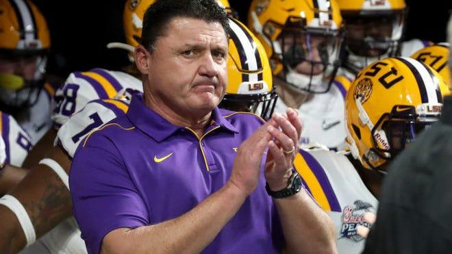 "LSU head football coach Ed Orgeron said Tuesday, ""Most -- but not all of our players -- most have caught"" COVID-19."